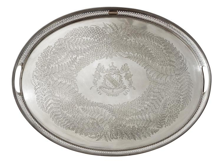 AN IMPRESSIVE VICTORIAN STERLING SILVER GALLERY TRAY BY MARTIN HALL & CO, SHEFFIELD 1888