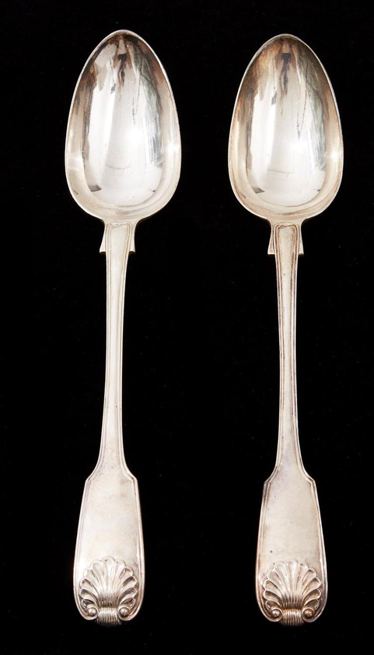 A PAIR OF VICTORIAN STERLING SILVER BASTING SPOONS BY JOHN HENRY LIAS, LONDON 1839
