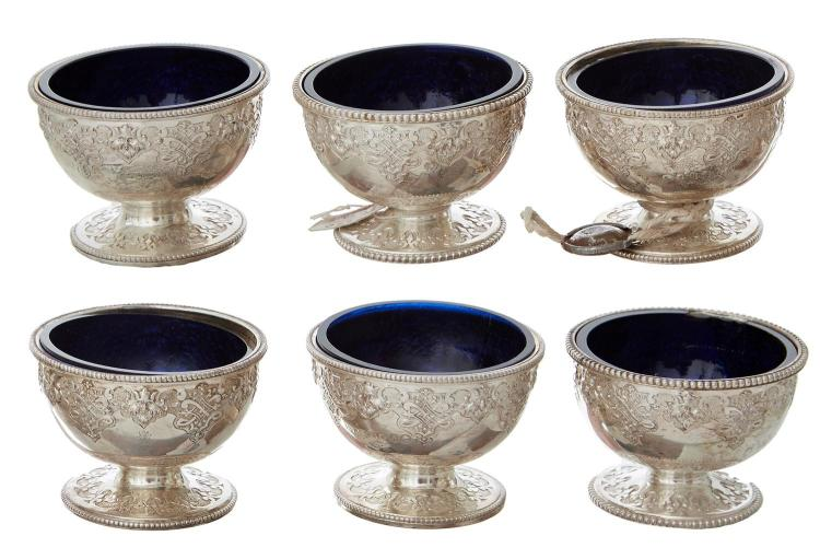 A SET OF SIX VICTORIAN STERLING SILVER SALTS BY ROBERT HENNELL III, LONDON 1857