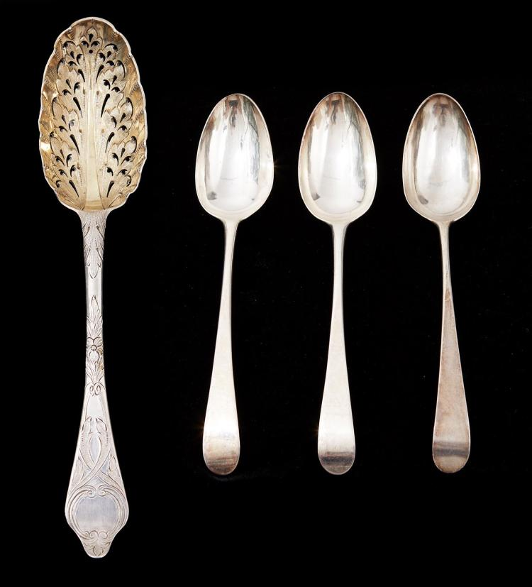 A PAIR OF GEORGE III STERLING SILVER SPOONS BY HESTER BATEMAN, LONDON 1784, WITH A GEORGE I SPOON AND A GEORGIAN BERRY SPOON