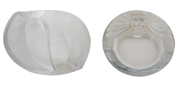TWO LALIQUE FRANCE ASHTRAYS, PHILIPPENS AND LION MASK