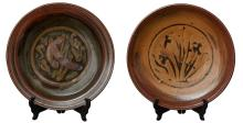 TWO LARGE AUSTRALIAN STONEWARE POTTERY CHARGER BY HAROLD HUGHAN (1893-1987)