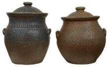 TWO LARGE AUSTRALIAN STONEWARE POTTERY JARS AND COVERS