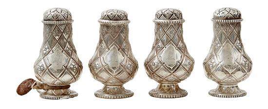 A MATCHED SET OF FOUR VICTORIAN CASTORS BY EDWARD & JOSEPH MAPPIN, LONDON 1863 AND DANIEL & CHARLES HOULE 1876