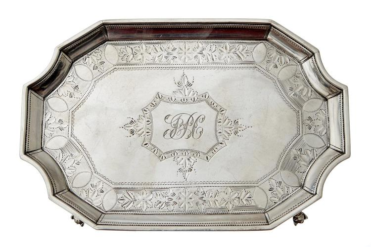 A GEORGE III STERLING SILVER CARD TRAY BY S.H, LONDON 1794
