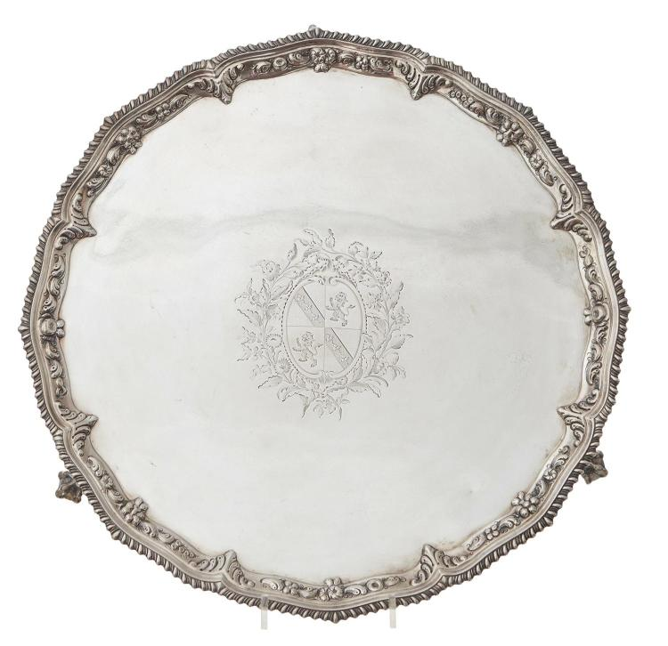 A FINE GEORGE III STERLING SILVER SALVER BY RICHARD RUGG I