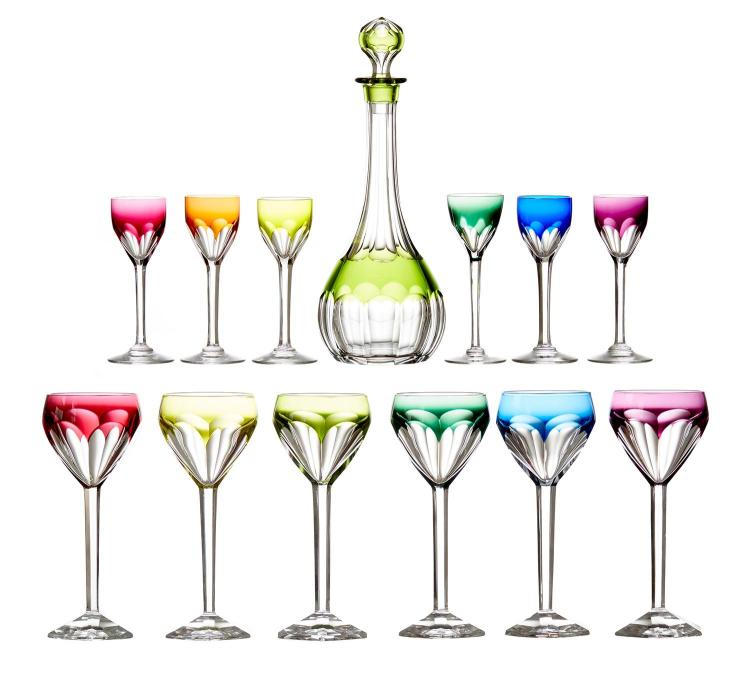 A HARLEQUIN DECANTER AND STEMWARE SET FOR SIX BY VAL SAINT LAMBERT