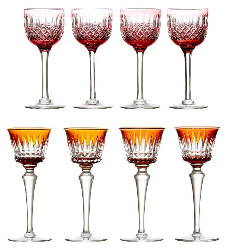 A SET OF EIGHT BACCARAT ''PICCADILLY RHINE'' WINE GLASSES IN ORANGE