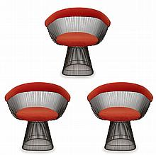 THREE PLATNER ARMCHAIRS BY WARREN PLATNER (1919-2006) FOR KNOLL, CIRCA 1970''S