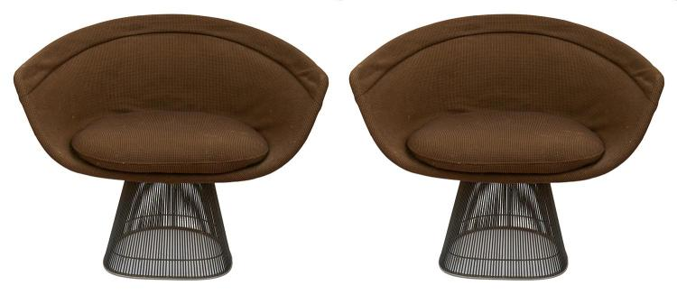 TWO PLATNER LOUNGE CHAIRS BY WARREN PLATNER (1919-2006) FOR KNOLL, CIRCA 1970''S