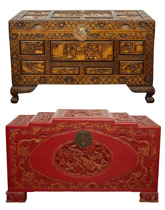 TWO ORNATELY CARVED CHINESE EXPORT CAMPHOR CHEST CHESTS, CIRCA SECOND QUARTER OF THE 20TH CENTURY