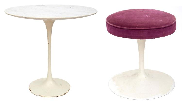 AN EERO SAARINEN TULIP FOOTSTOOL AND OVAL MARBLE TOPPED SIDE TABLE, CIRCA 1960''S