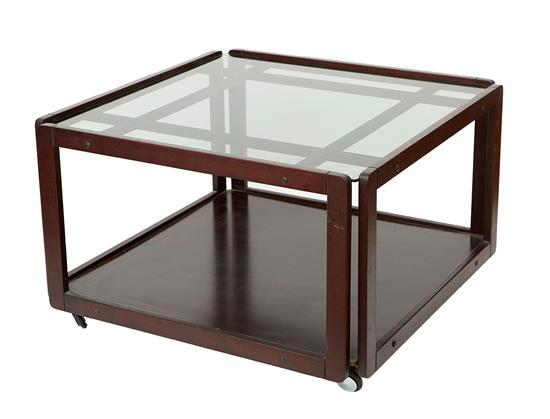 A PAIR OF ROSEWOOD & GLASS MODERNIST SIDE TABLES, MARKED FL INDUSTRIA MOBILI 1978 NO 6111