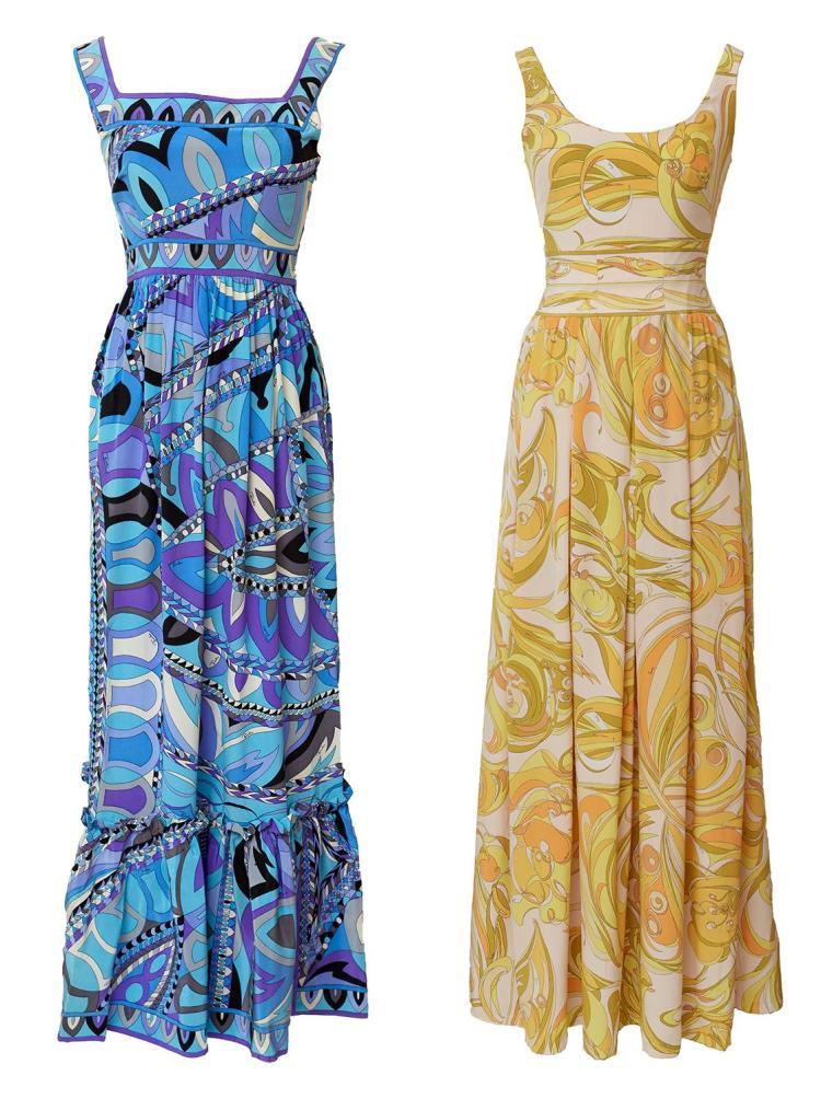 TWO RARE SILK COCKTAIL DRESSES BY EMILIO PUCCI, CIRCA 1960-64