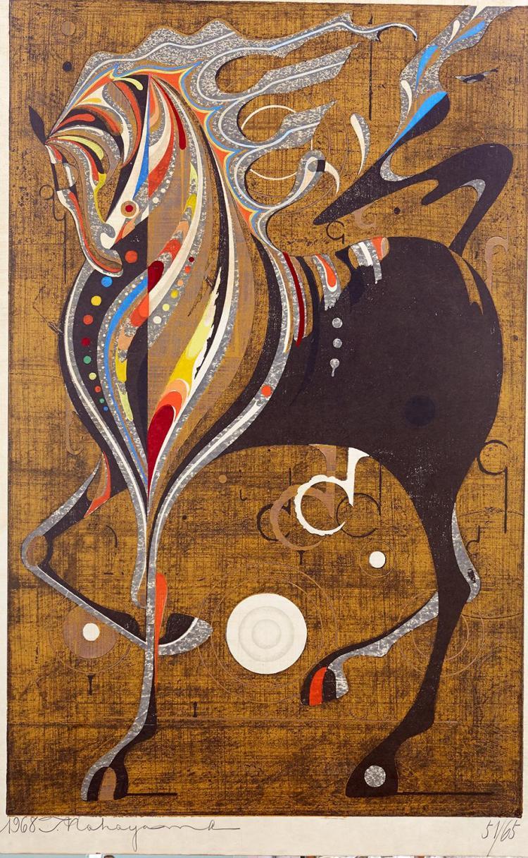 TADASHI NAKAYAMA (Japanese, 1927-2014) Afternoon, Riding Horse 1968 woodblock edition 51/65