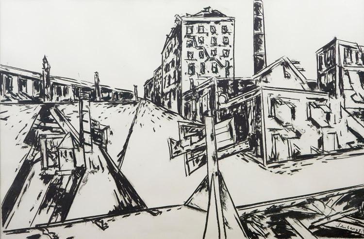 JAN SENBERGS (born 1939) Liardet''s Street I 1979 charcoal on paper