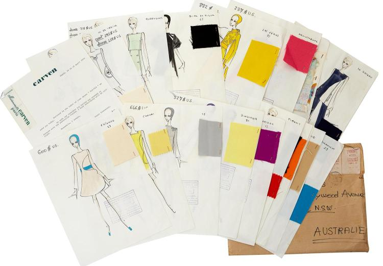 A RARE AND UNIQUE COLLECTION OF EIGHTEEN FASHION SKETCHES & FABRIC SWATCHES FOR CARVEN, PARIS,1970