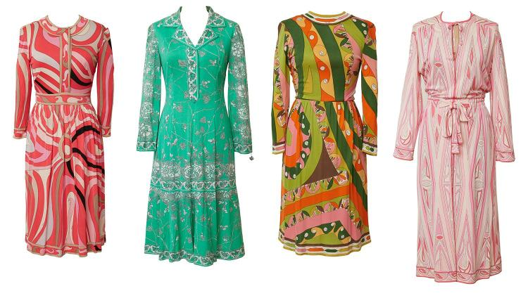 A COLLECTION OF FOUR SILK JERSEY DRESSES BY EMILIO PUCCI, CIRCA 1965-1970