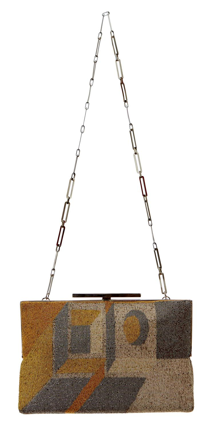 A BEADED MESH MODERNIST EVENING PURSE BY PIERRE CARDIN, CIRCA 1970