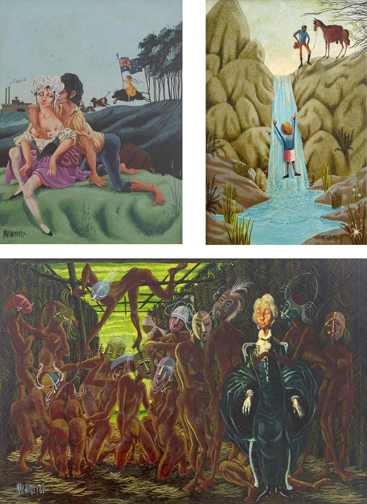 MAX HURLEY (born 1938) Untitled 1968; The Revenge of Mrs Jones 1967; Explorer Discovers a Waterfall 1967 oil on board