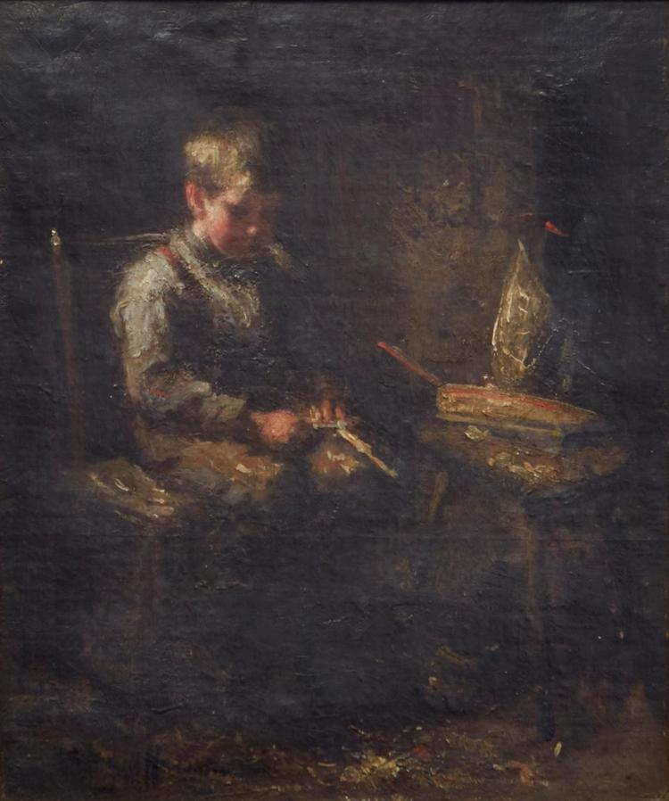 AUSTRALIAN SCHOOL Boy Carving oil on canvas