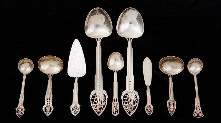 A COLLECTION OF AUSTRALIAN SILVER 'WILDFLOWER' SERVING SETS, ALL BY JAMIE LINTON, MARKED JAL ST.SILVER GUMNUT