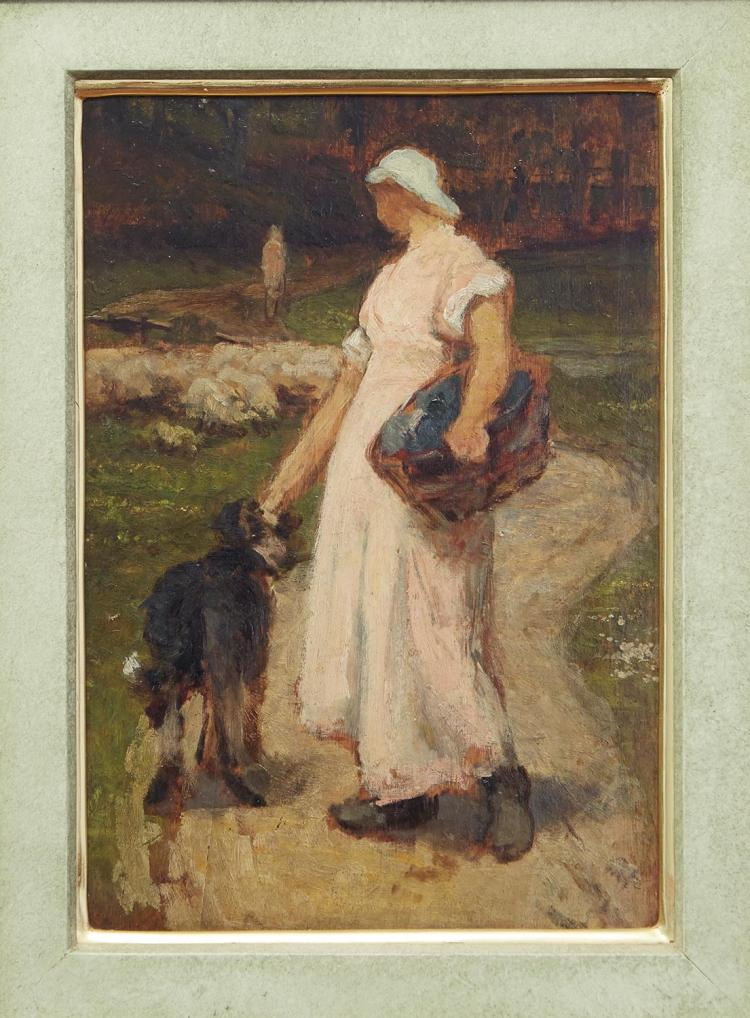 STYLE OF JEAN FRANCOIS MILLET (French, 1814-1875) Peasant Girl oil on board