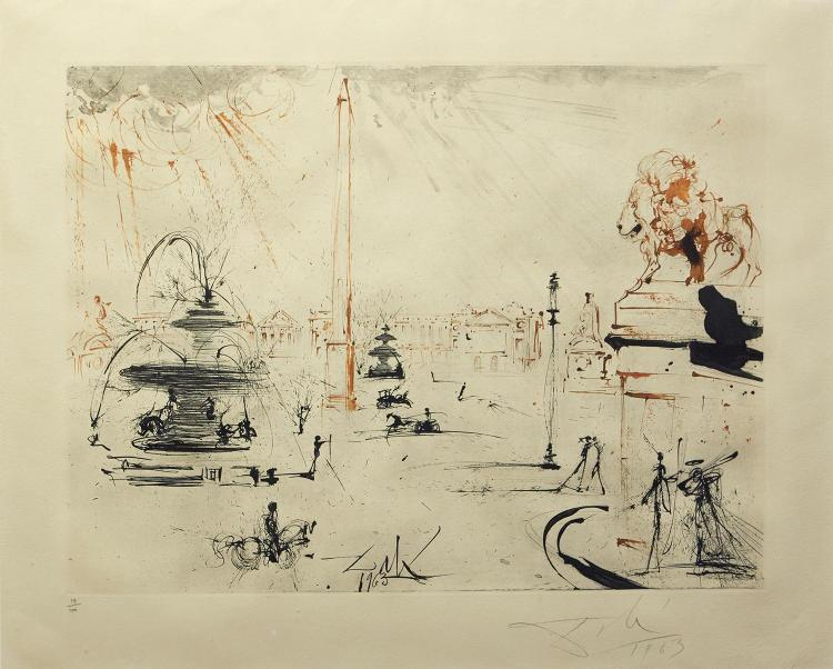 AFTER SALVADOR DALI (Spanish, 1904-1989) Trafalgar Square 1963 etching edition 19/100