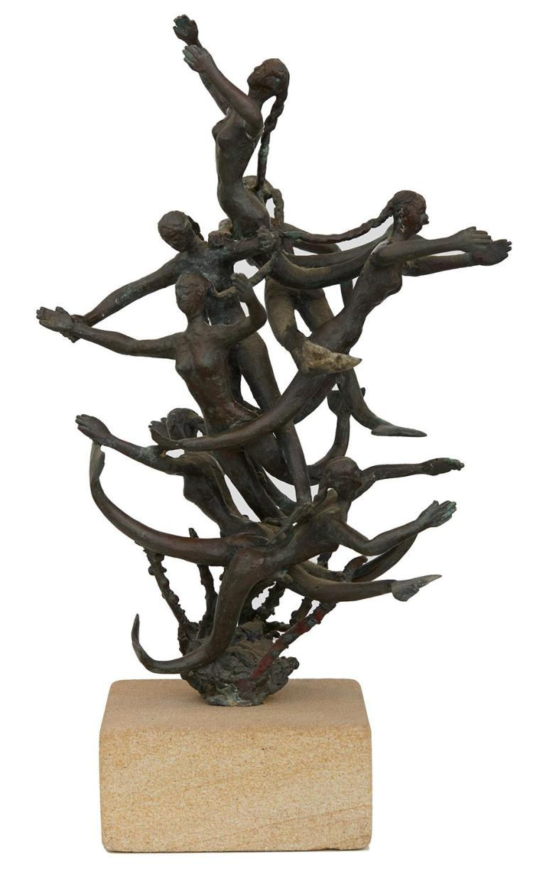 STYLE OF GUY BOYD (1923-1988) Waterfall of Mermaids bronze on stone base