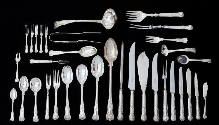 A COMPREHENSIVE STERLING SILVER ''KINGS PATTERN'' CUTLERY SERVICE BY GARRARD & CO LTD, LONDON, MOSTLY CIRCA 1960''S