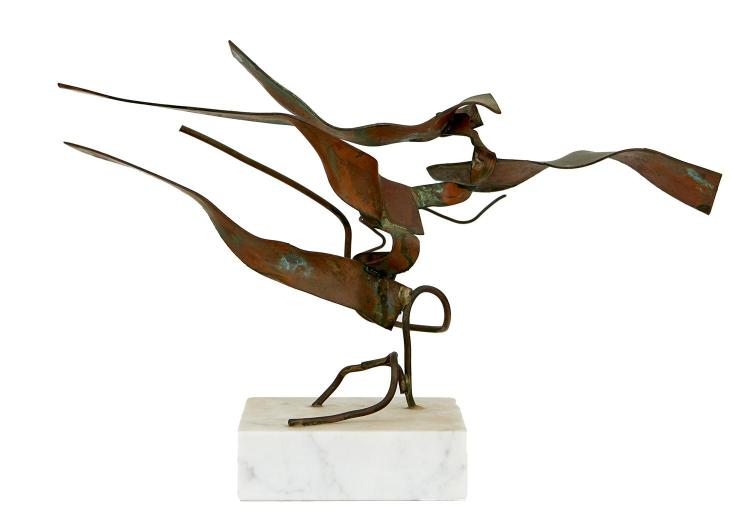 TWENTIETH CENTURY SCHOOL Abstract bronze on stone base