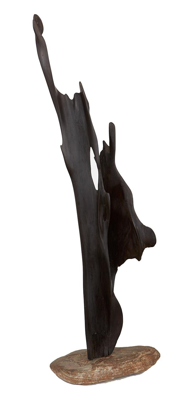 ATTRIBUTED TO BIM HILDER (1909-1990) Abstract Form painted cedar on rock base