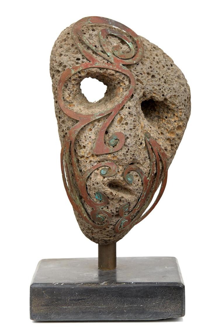 UNKNOWN ARTIST Mask stone and bronze on stone base