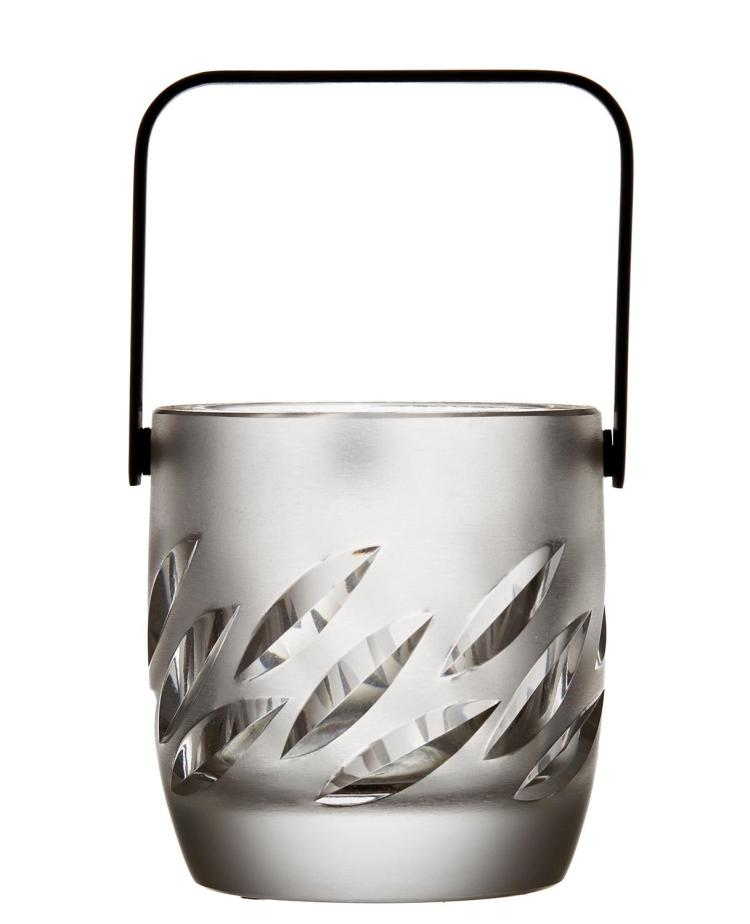 A CONTEMPORARY LALIQUE CRYSTAL ICE PAIL