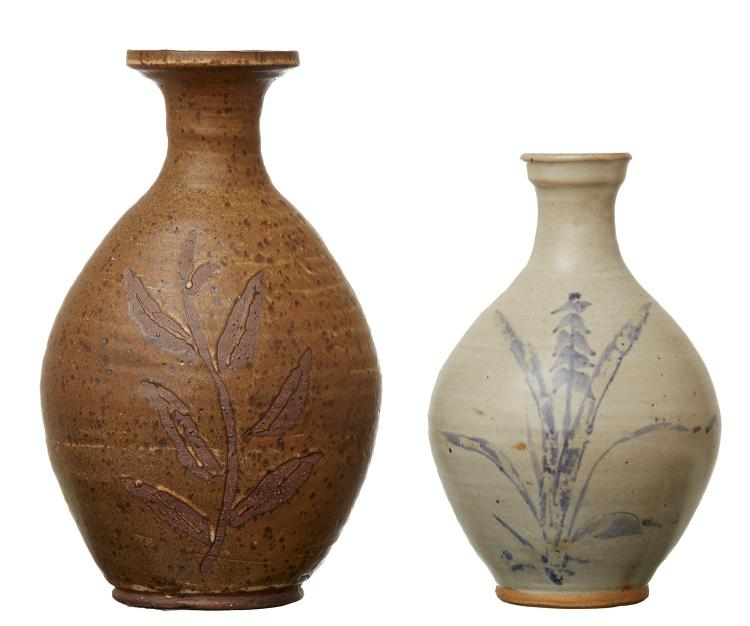 TWO AUSTRALIAN STONEWARE POTTERY VASES BY HAROLD HUGHAN (1893-1987)