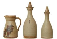 TWO AUSTRALIAN STONEWARE POTTERY DECANTERS AND JUG SET BY HAROLD HUGHAN (1893-1987)