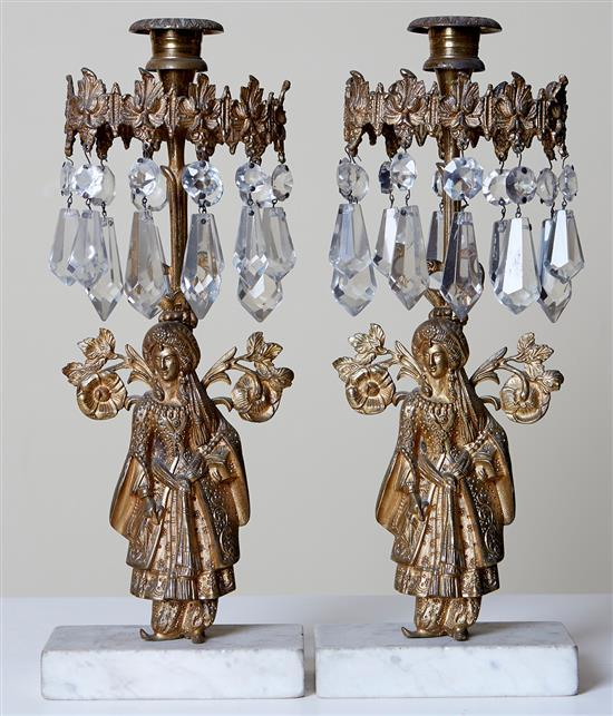 A PAIR OF 19TH CENTURY ORIENTALIST FIGURAL LUSTRES, POSSIBLY AMERICAN