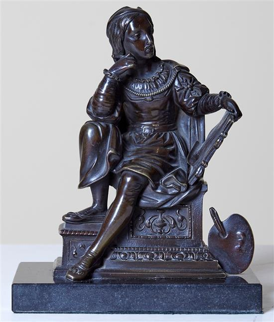 A FRENCH LATE 19TH CENTURY BRONZE FIGURE OF AN ARCHITECT