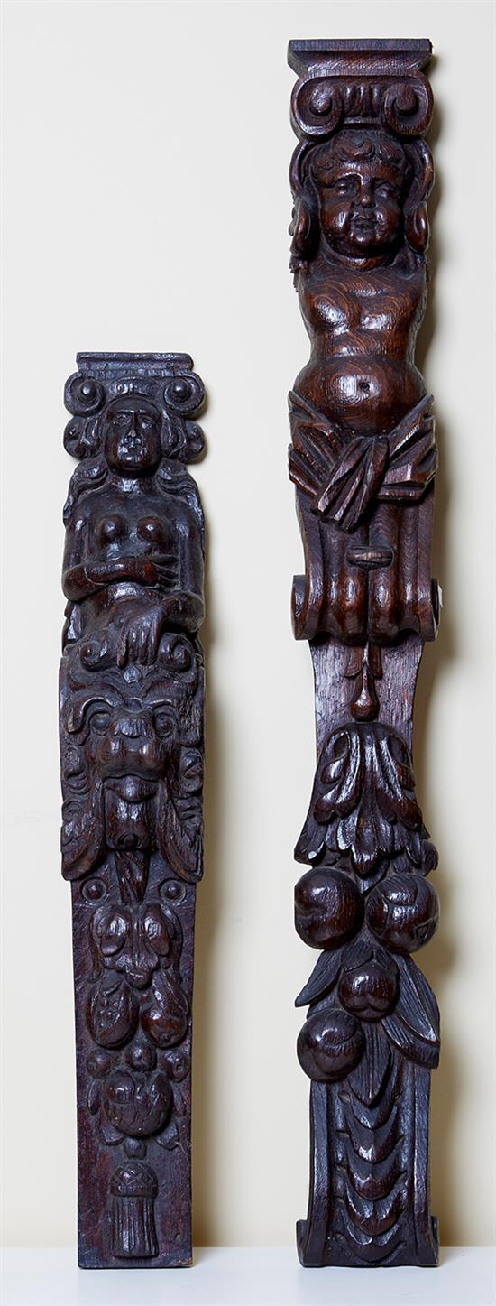 TWO ENGLISH OAK CARVINGS, 16TH CENTURY