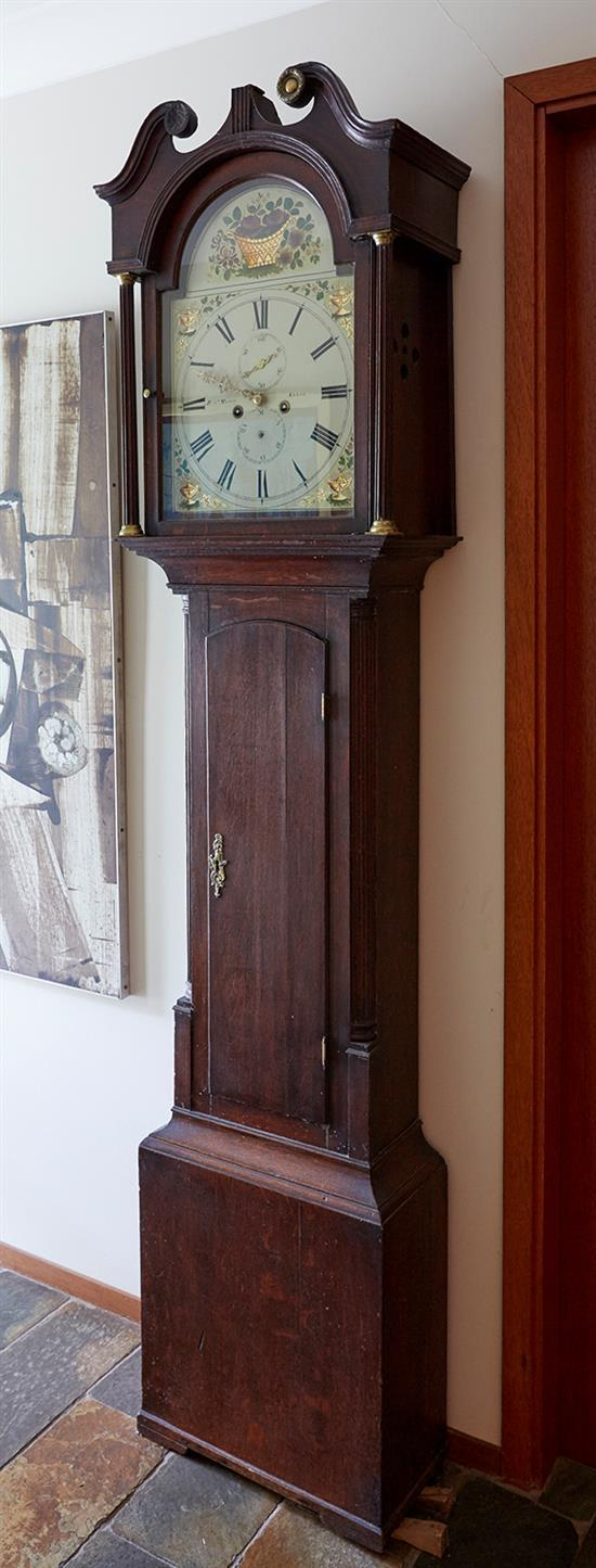 AN OAK LONGCASE CLOCK BY ROBERT MASON OF KELSO, CIRCA 1820-1830