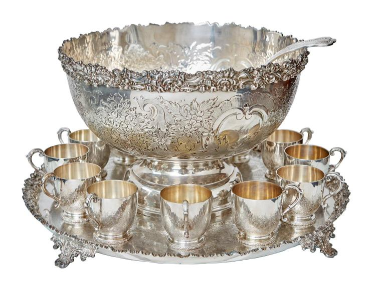 A SILVER PLATE PUNCH BOWL, TRAY AND CUP SET BY BARKER ELLIS