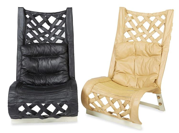 PAIR OF CONTEMPORAY HIGHBACK SLING CHAIRS