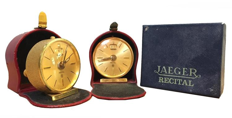 TWO MATCHING JAEGER EIGHT DAY TRAVEL CLOCKS IN FITTED BOXES