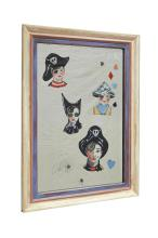A DAVID BROMLEY VERRE EGLOMISE REVERSE PAINTED MIRROR. Painted with four children in costume. 107cm high, 77cm wide (including frame)