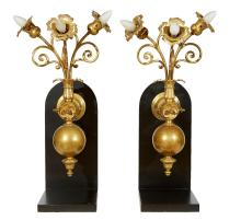 A PAIR OF DUTCH BRONZE WALL BRACKETS, MOUNTED TO A CONTEMPORARY BASE. 77cm total height, 37 cm wide, 41cm deep