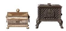 A FRENCH CAST IRON INKWELL MODELLED AS A CHAUFETTE STOVE AND A SHEFFIELD PLATE INKWELL. The tallest 11cm high