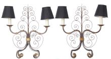 A PAIR OF WROUGHT IRON TABLE LAMPS, CIRCA 1940. 52cm high, 47cm wide