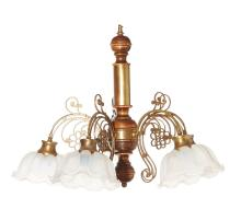 A VINTAGE FRENCH WALNUT AND BRASS FIVE BRANCH LIGHT. 62cm high, 66cm diameter