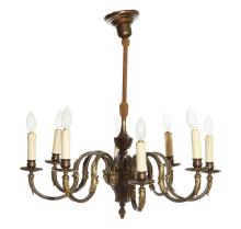 A FRENCH BRONZE EIGHT BRANCH CHANDELIER, CIRCA 1940S. 90cm high approximately, 65cm diameter