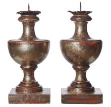 A PAIR OF VINTAGE VENETIAN WOOD TURNED SILVER GILT CANDLESTICKS. 45cm high, 19cm wide, 19cm deep